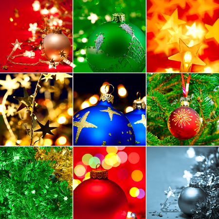 Christmas baubles tinsel and lights collection photo