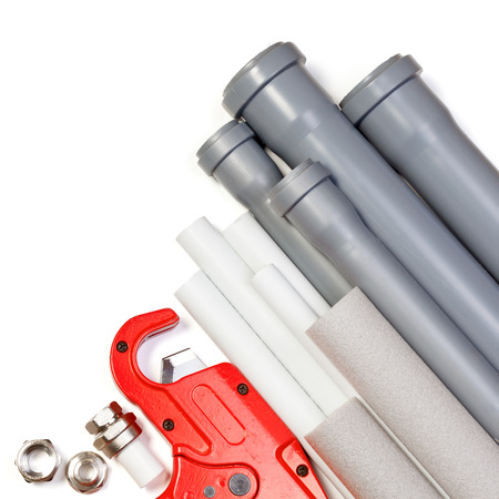 pp: Plumbing tool pipes and fittings on white background