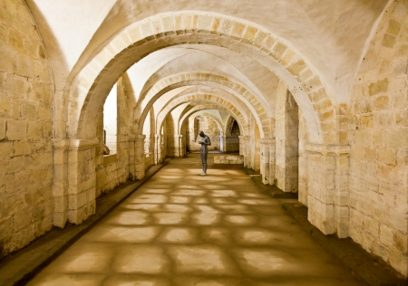 crypt: Sculpture in the crypt of the Winchester Cathedral in England Stock Photo
