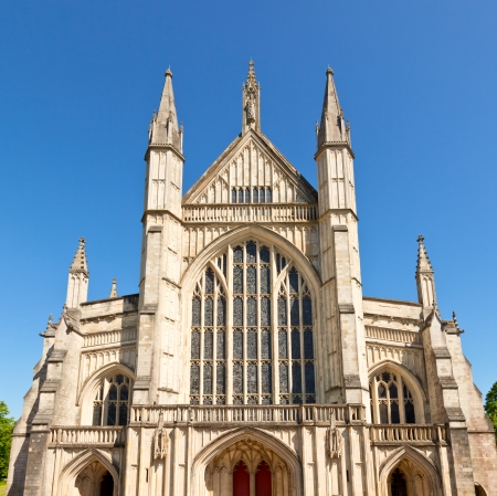winchester: Front facade of Winchester Cathedral in England