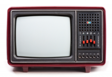 Vintage red Television set on white background photo