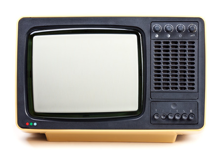 television antigua: Vintage televisor amarillo sobre fondo blanco Foto de archivo