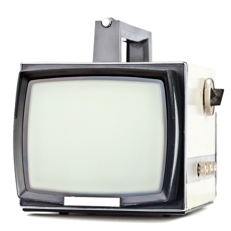 televisor: Vintage portable television set on white background