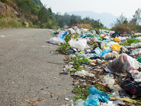 Spontaneous garbage dump along the road in Vietnam