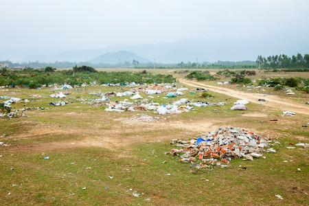 spontaneous: Spontaneous garbage dump in asian countryside Stock Photo