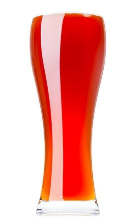 ipa: Full glass of pale ale isolated on white background