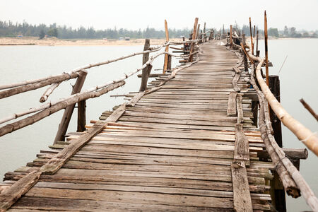 rickety: Unstable rickety bridge in Vietnam Stock Photo