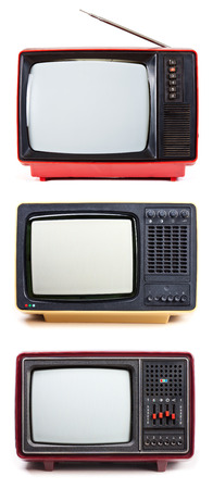 crt: Vintage Television sets isolated on white background Stock Photo