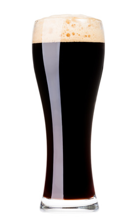 tall glass: Full glass of oatmeal stout isolated on white background