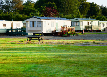 camping pitch: Cabins at holiday park in Scotland Editorial