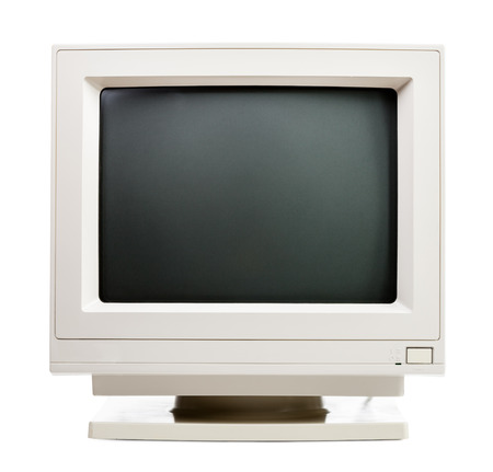 Vintage CRT computer monitor on white background photo