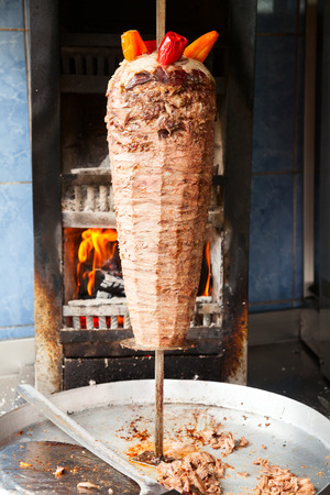 Grilled meat used for making a traditional turkish kebab photo