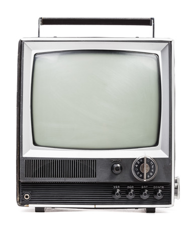 Vintage portable TV set on white  photo