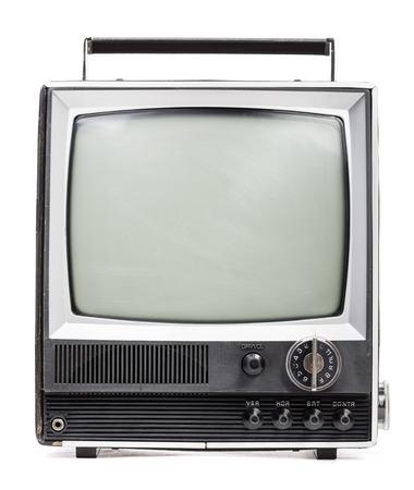 Vintage portable TV set on white  photo