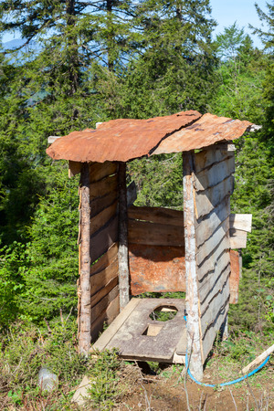 latrine: Wooden outhouse at mountains in Northern Turkey