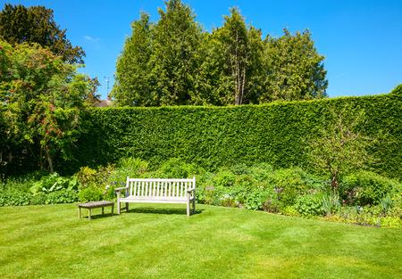Houten bankje in een zomertuin