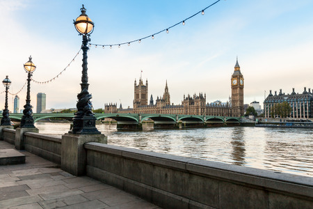 London cityscape with the Parliament, the Big Ben, the Westminster Bridge and the Thames