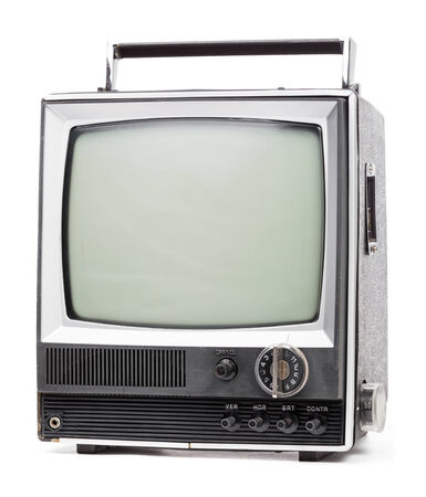 televisor: Vintage portable TV set with handle on white background