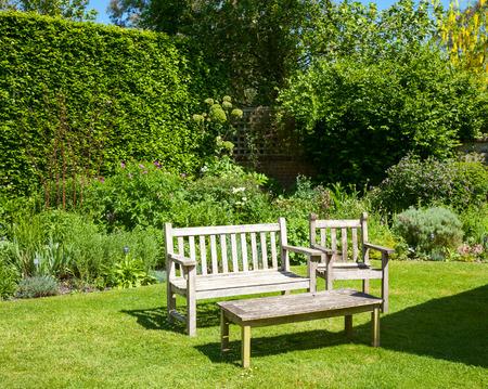 Wooden bench in a summer garden photo