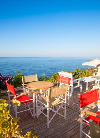 openair: Open-air greek cafe  terrace overlooking the sea