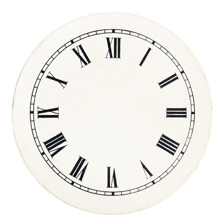 Real round 12-hour roman numeral clock face template on white background Archivio Fotografico