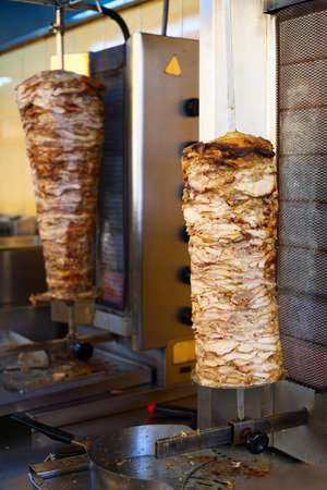 Grilled meat used for making a traditional greek gyros stuffed sandwich photo