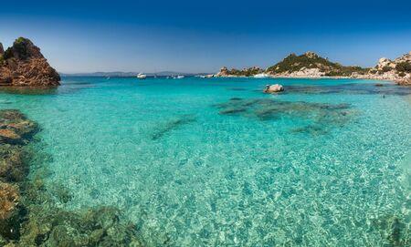 Panoramic view of Cala Corsara cove at Maddalena Archipelago in Sardinia
