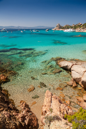 cove: Clear turquoise water of Cala Corsara cove at Maddalena Archipelago in Sardinia
