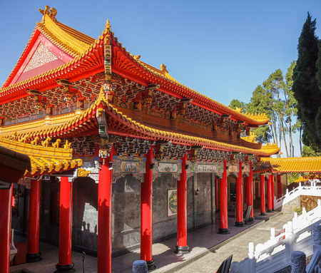 red sun: Wen Wu (Wenwu) Temple on Sun Moon Lake in Taiwan
