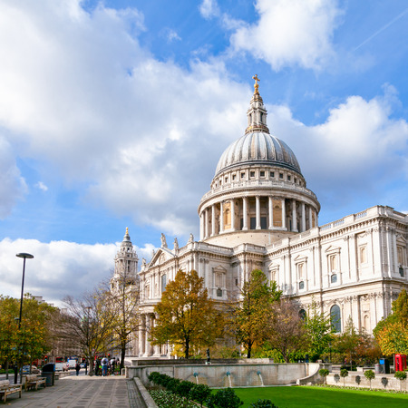 London cityscape with St Paul's Cathedral at autumn 写真素材