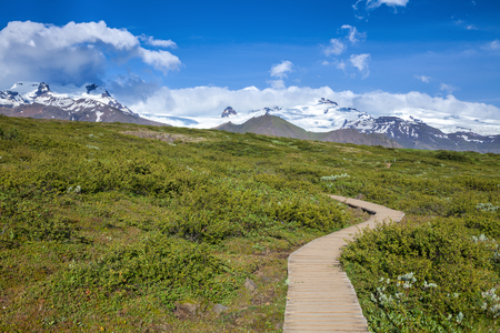 tramping: Wooden boardwalk at the Skaftafell National Park in Iceland Stock Photo