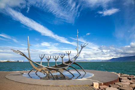 sculpture: The Sun Voyager (or Sun Traveler, Solfar in Icelandic) stainless steel ship-like sculpture by Jon Gunnar Arnason is one of the most famous sculptures in Reykjavik. It located on the seafront at the end of Frakkastigur street in Midborg district