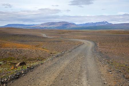 one lane: Scenic one lane gravel road in Iceland Stock Photo