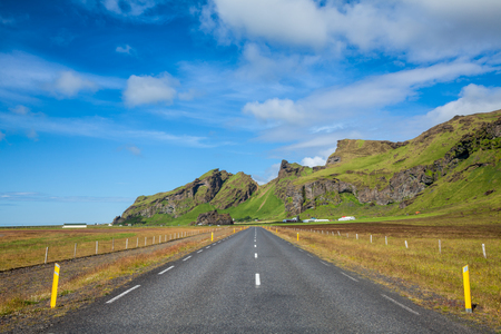 south coast: Straight asphalt road in the South coast of Iceland