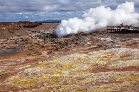 fumarole: Steaming fumarole at  Gunnuhver geothermal area  in the southwest part of the Reykjanes Peninsula of Iceland