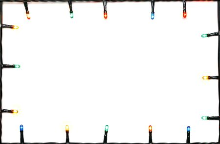 christmas light: Christmas lights of different colors frame on white background Stock Photo