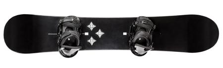 planche à neige noir avec fixations sur fond blanc