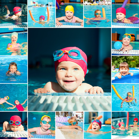 Little girl in a swimming pool collection photo