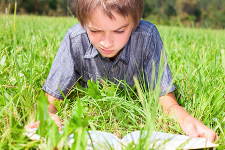 only one boy: Boy reading a book laying on the sunny meadow in a summer park