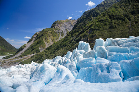 fox glacier: Lower part of Fox Glacier at New Zealands South Island a major tourist attraction and one of the most accessible glaciers in the world Stock Photo