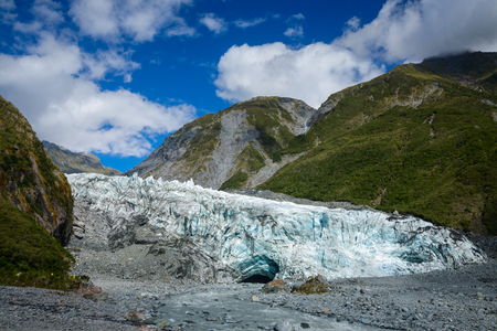 terminals: Lower part of Fox Glacier with lateral and terminal glacial moraines at New Zealands South Island Stock Photo