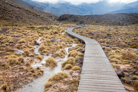 tramping: Public tramping track at Tongariro National Park in New Zealand Stock Photo