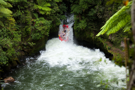 whitewater: A whitewater fafters running rapid on the Kaituna River in New Zealand