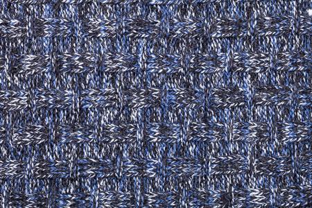 Blauw wit zwart breiwerk gemaakt van heathered garen geweven achtergrond