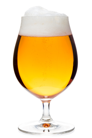 craft background: Full snifter glass of pale lager of pilsner beer isolated on white background