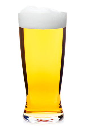 pilsener: Full pilsner glass of pale lager of pils beer isolated on white background