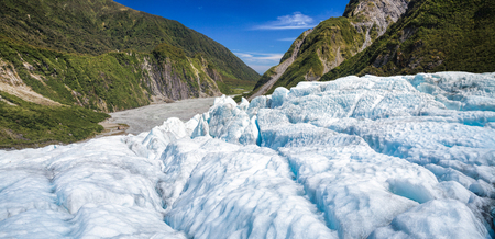 fox glacier: Panoramic view of the lower part of Fox Glacier at New Zealands South Island a major tourist attraction and one of the most accessible glaciers in the world Stock Photo