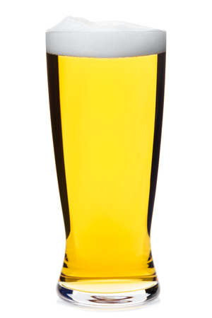 pilsener: Full pilsner glass of pale lager beer isolated on white background