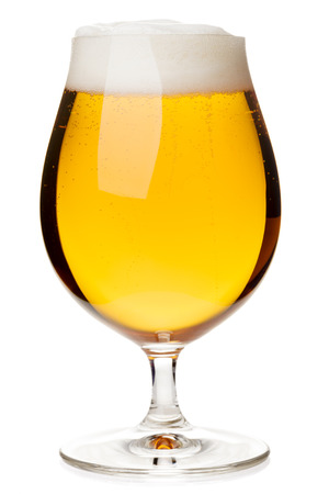 pilsner: Full snifter glass of pale lager of pilsner beer isolated on white background