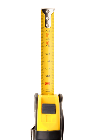 manual measuring instrument: Roll-up metal tape measure on white background